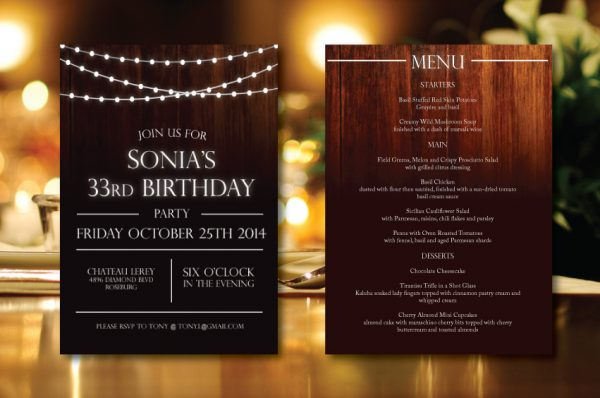 Elegant Wood & Lights Rehearsal Dinner Invitation
