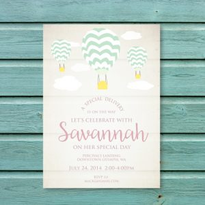 Vintage Hot Air Balloon Birthday Party Invitation