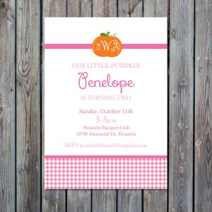Pumpkin Birthday Party Invitation (Pink Gingham)