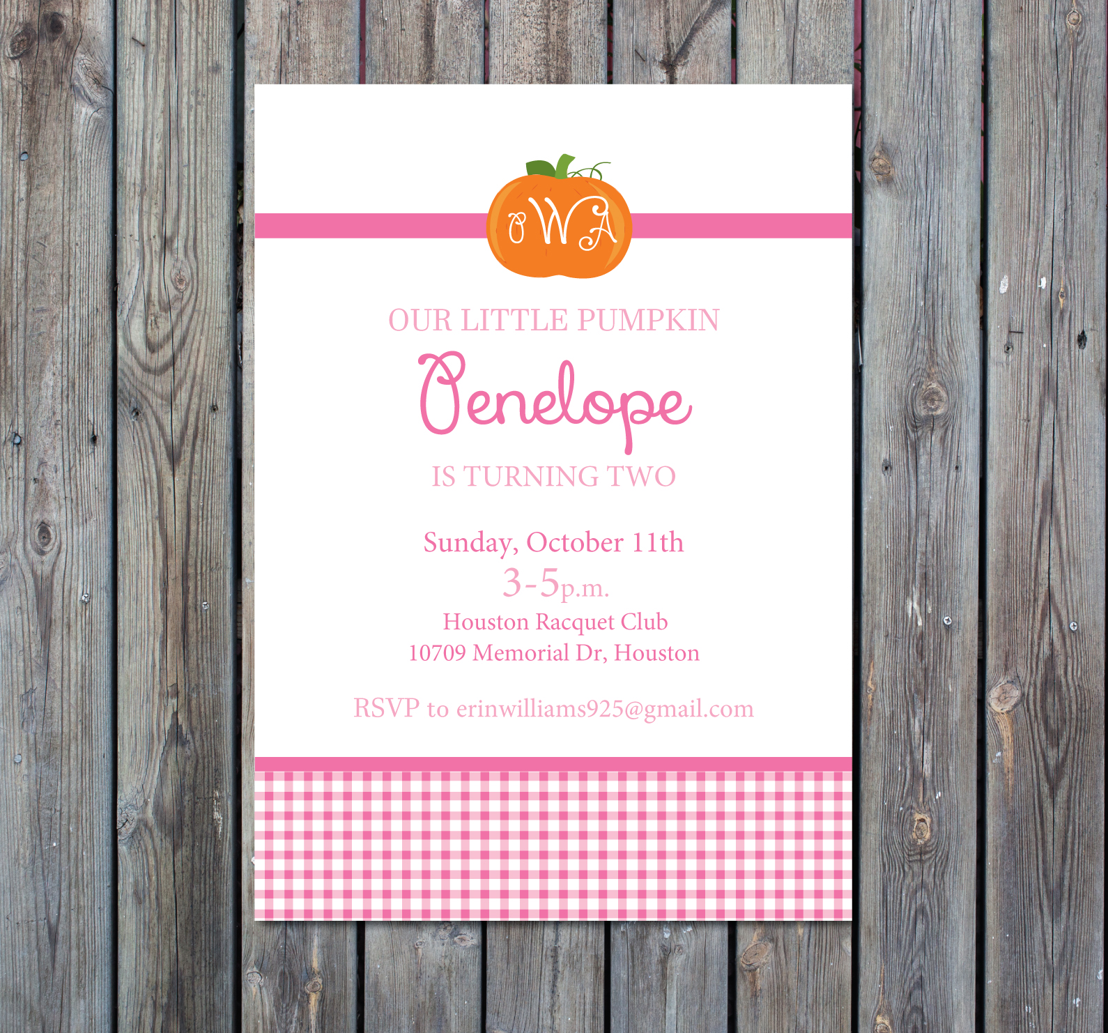 Pumpkin Birthday Party Invitation (Pink Gingham) - Crowning Details