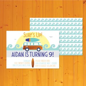 surfer theme invitation for a beach party