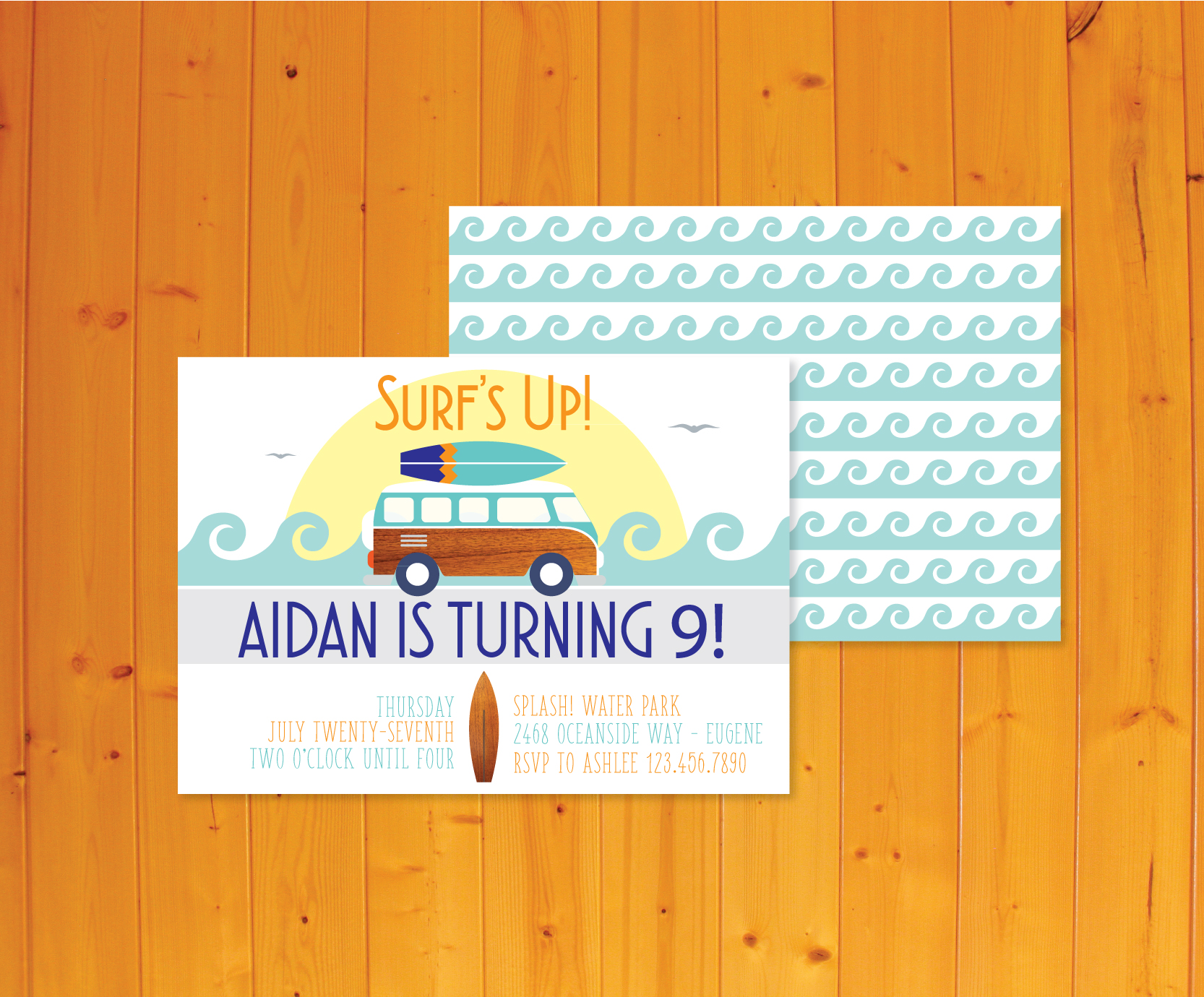 Surfer Theme Invitation - Surfer Invitation - Crowning Details