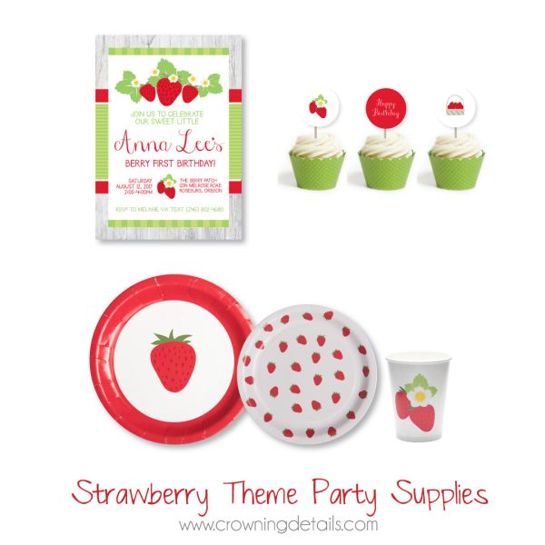 Strawberry Paper Plates- Dessert Size