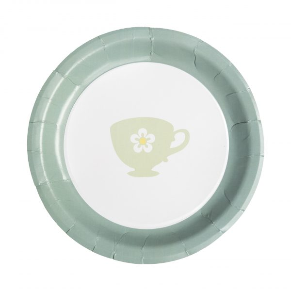 Teal Tea Party Paper Dinner Plates