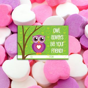 """Owl Always be your Friend"" Valentine's Day Favor Cards"