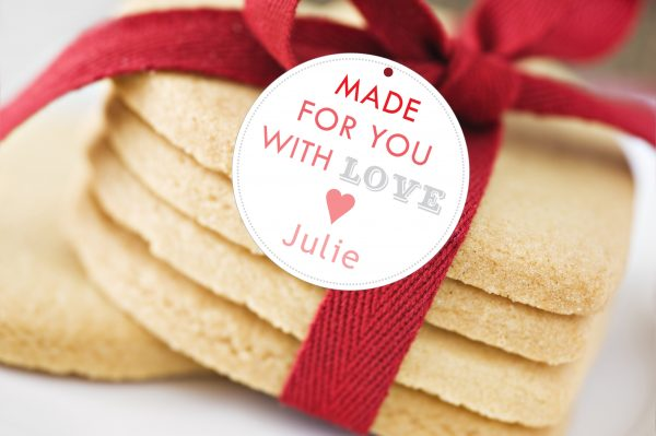 """Made for You with Love"" Round Gift Tags (red/grey)"