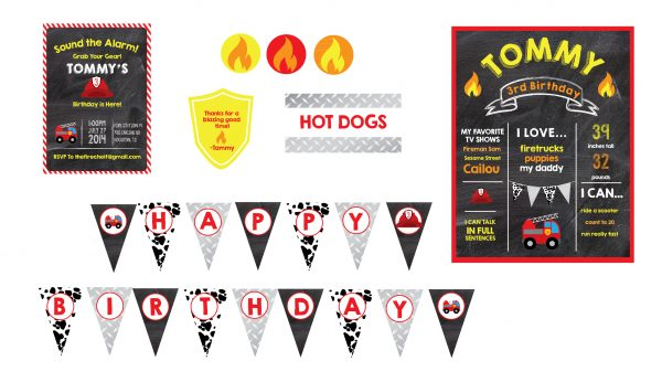 Fireman Birthday Party Printable Package