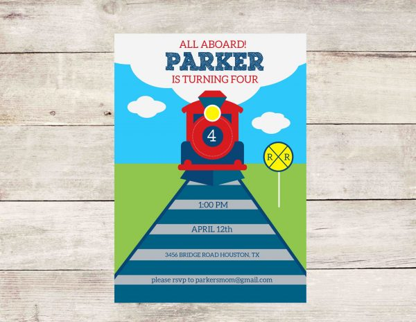 Train Birthday Party Invitation (Red/Blue)