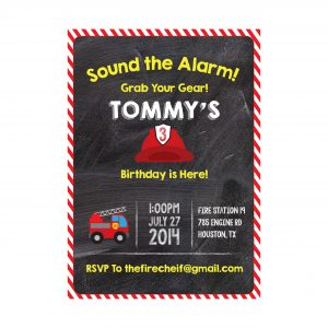 Fireman Birthday Party Invitation