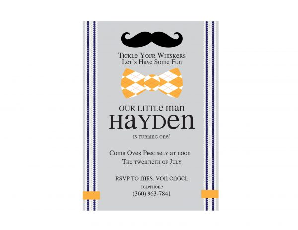 Mustache & Bow Tie Invitation- Little Hipster Man Birthday Party Invitation