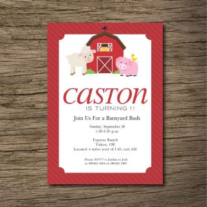 Red Barn Barnyard Birthday Party Invitation