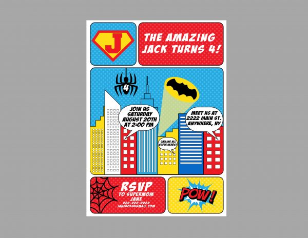 Comic Superheros Birthday Party Invitation