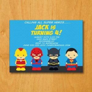 Superheros Birthday Party Invitation