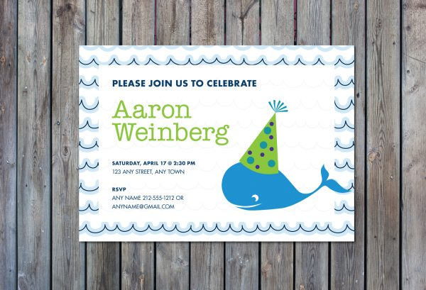 Boy's Whale Birthday Party Invitation