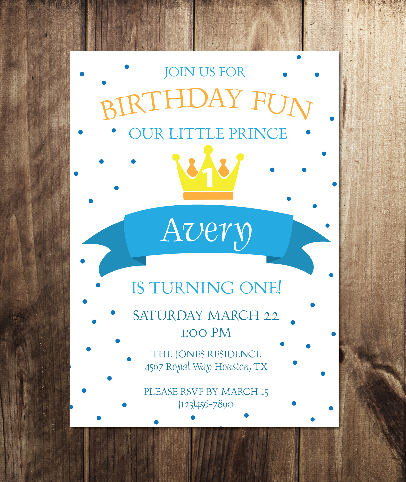 Little Prince Birthday Party Invitation - Crowning Details