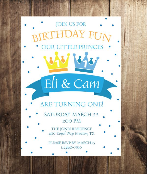 Little Princes Birthday Party Invitation- Twin Party Invitation