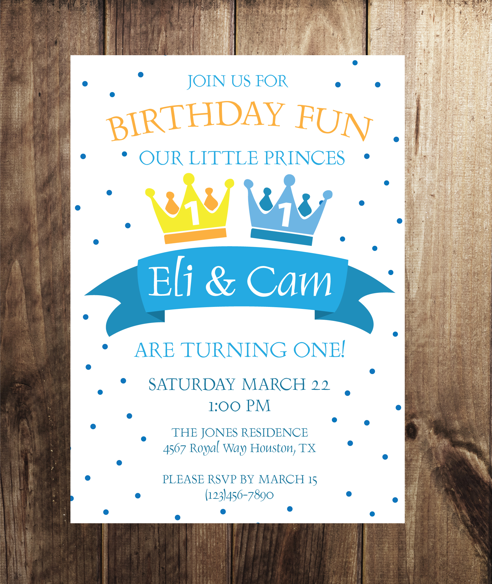 Prince Birthday Party Invitation Twin Party Invitation Crowning
