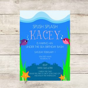 Under the Sea Birthday Party Invitation- Pink & Purple