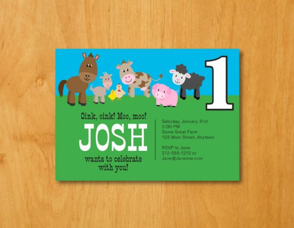 Barnyard Animals Birthday Party Invitation (Boy)