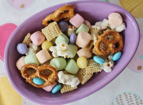 Easter snack mix in purple ceramic egg