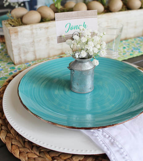 spring place setting with galvanized place card holder