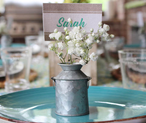 galvanized place card holder with baby's breath