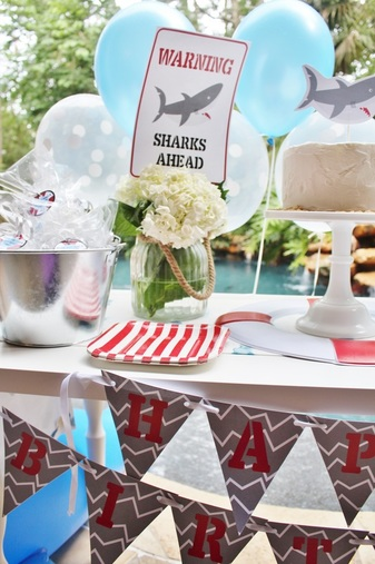 shark party printables shark banner
