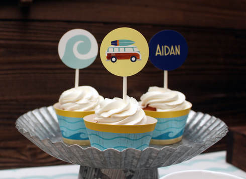 surfer birthday party cupcake toppers