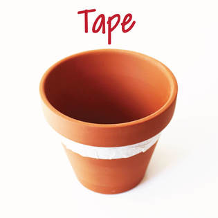 taping to paint a terra cotta pot