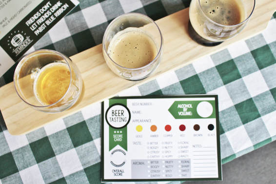 Beer Tasting Flight with Cards
