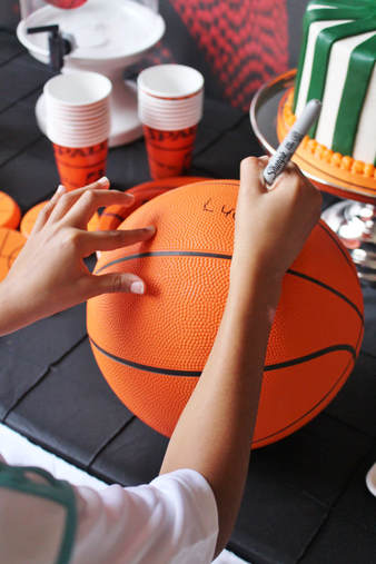 autographed basketball for a birthday party keepsake