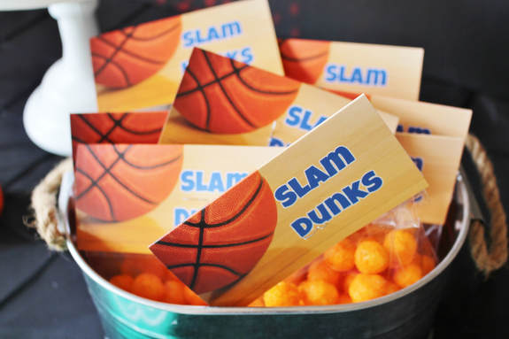 Slam Dunk labels for cheese puff snacks