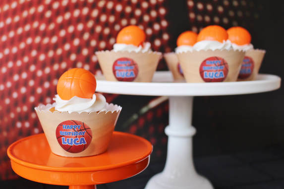 basketball party ideas and cupcake wrappers