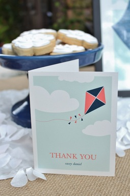 kite thank you cards at a first birthday party