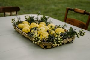 farmhouse centerpiece at a recipe exchange party