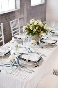 winter bridal tablescape using silver and blue