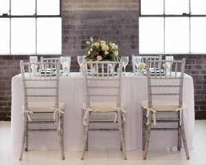 silver and blue wedding table
