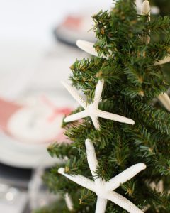starfish ornaments for a coastal christmas centerpiece