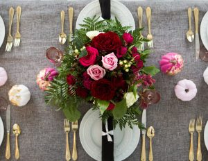 fall floral arrangement pink and gray tablescape