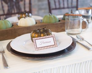 gingham placecards for thanksgiving table decor