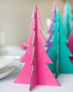 DIY painted christmas tree centerpiece merry and bright