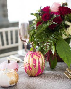 gold leaf pumpkin centerpiece for fall tablescape