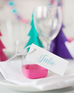 DIY painted glass ornament place card