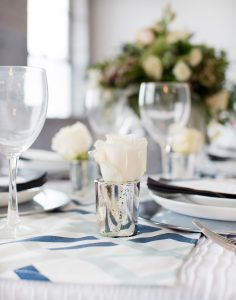 modern wedding tablescape silver and blue bridal