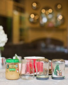 DIY snow globes from baby food jars