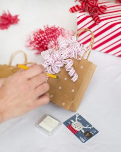 DIY stamped gift bag gift card wrapping ideas