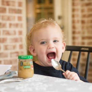 baby food tasting at a winter baby shower