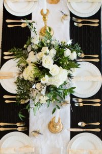 formal holiday tablescape winter wonderland