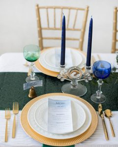 DIY watercolor menu cards formal holiday table