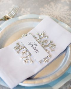 ornament placecard holders for a winter baby shower